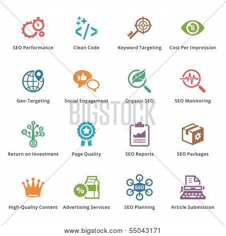 SEO & Internet Marketing Icons - Set 4 | Colored Series