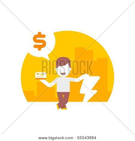man uses a credit or debit card for fast purchases