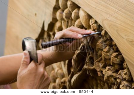 Hands Engraving Wood