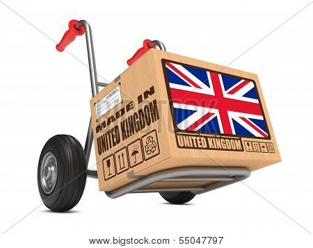 Made in UK - Cardboard Box on Hand Truck.