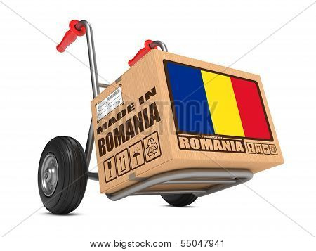 Made in Romania - Cardboard Box on Hand Truck.