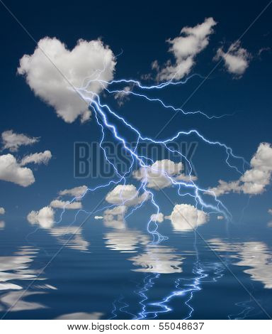 Heart Shaped Cloud With Thunderbolt and Reflection on Water
