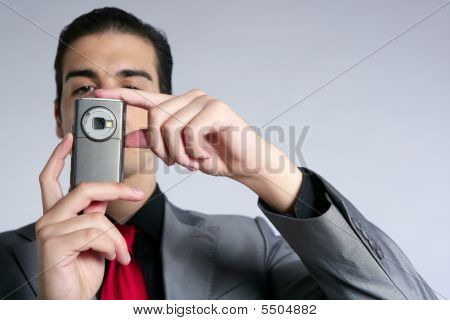 Businessman Taking Photos With Phone Camera