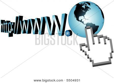 Cursor Click On World Wide Web 3D Url