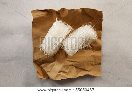 glass noodles on the brown wrapper paper