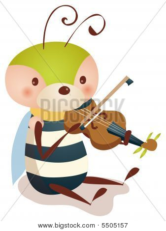 Bee Playing  Violin