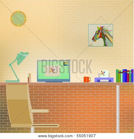 Flat Design of modern Office Interior with Computer screen, lamp, printer, books, cup, clock, horse
