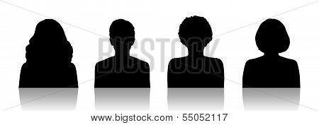 Women Id Silhouette Portraits Set 1