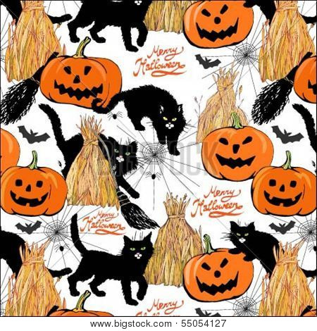 halloween colorful pattern with broom, cats, pumpkin, haystack