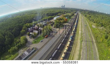 Trains on railway among forest at sunny day. View from unmanned quadrocopter.