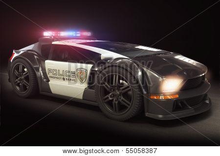 Futuristic modern Police car cruiser