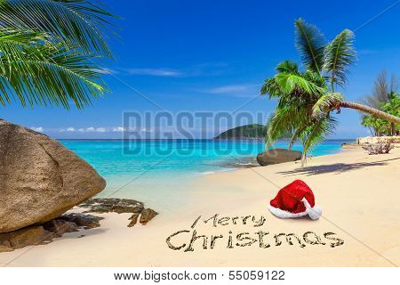 Merry Christmas with santa hat on the tropical beach