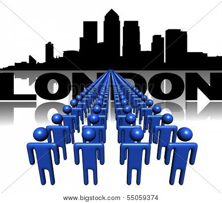 Lines of people with London Docklands skyline illustration