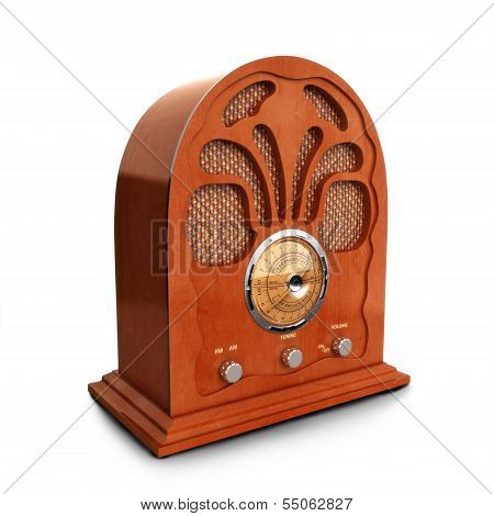 Retro vintage wood radio