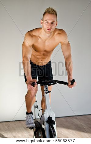 Handsome Young Man Doing On Bike