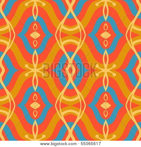 Pattern with Arabic motifs in vibrant colors