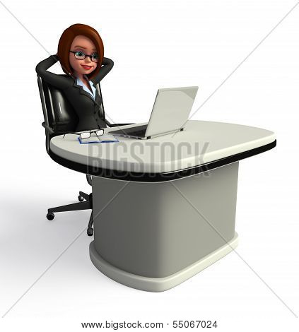Young Business woman with laptop