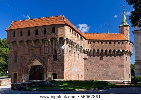 view on Barbakan in old town of Cracow in Poland