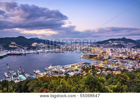 Nagasaki, Japan skyline at the bay.