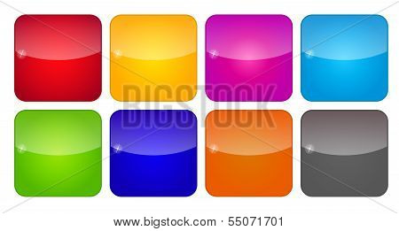 Colored Application Icons for Mobile Phones and Tablets, Vector