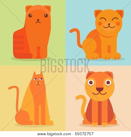 Vector Set Of Flat Cat Icons And Illustrations