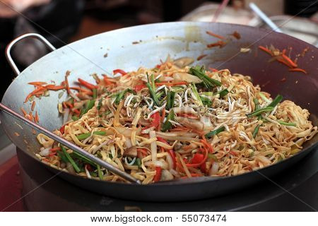 Preparation Of Spicy Thai Noodles