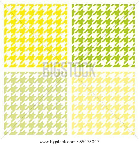 Houndstooth seamless vector summer pattern set. Traditional Scottish plaid fabric collection.