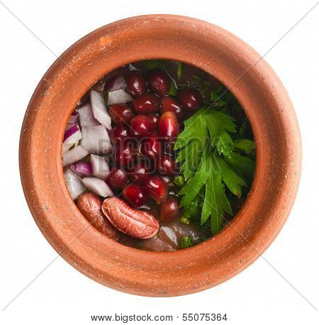 stewed haricot and pomegranate