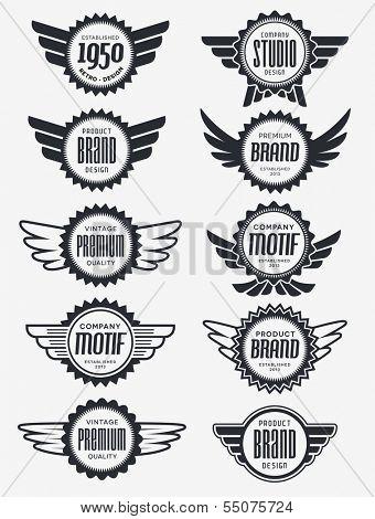 Retro Vintage Badge Vector Design Set
