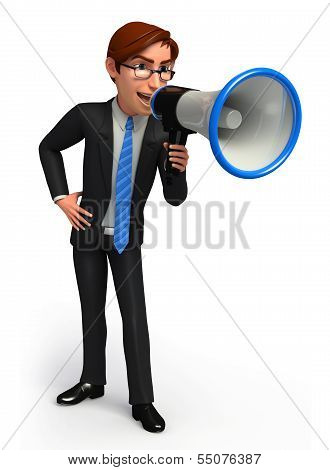 Young Business man with loudspeaker