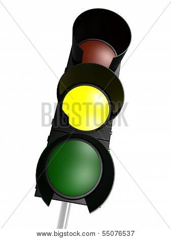 Traffic light with yellow on