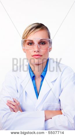 Serious Female Scientist Looking At The Camera