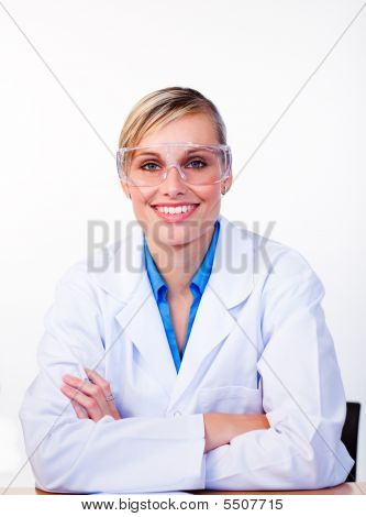 Portrait Of A Female Scientist Looking At The Camera