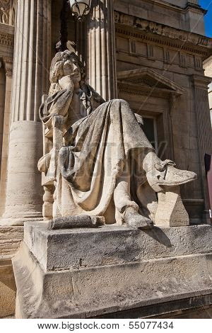 Moliere Statue (xix C.) In Front Of Opera Theatre In Avignon