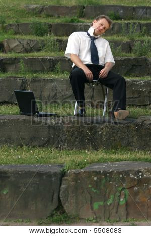 Businessman On The Steps