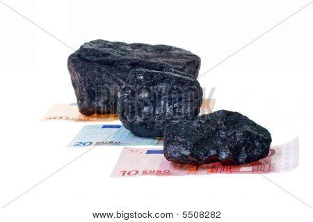 Carbón, carbón Nuggets y billetes