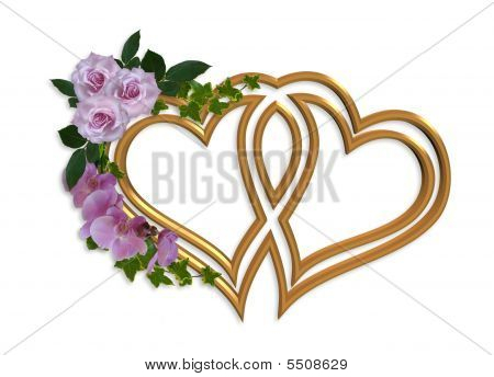 Hearts Of Gold Wedding Invitation Design Stock photo
