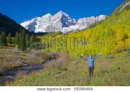 Enjoying Maroon Bells in Fall