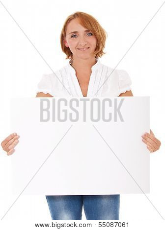 Middle aged woman holding blank white sign. All on white background.