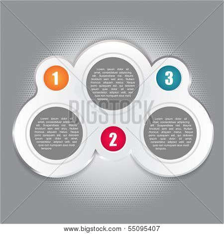Abstract vector background with three numbered steps and places for your text content. Can use for brochure, advertisement, flyer and other prints and web