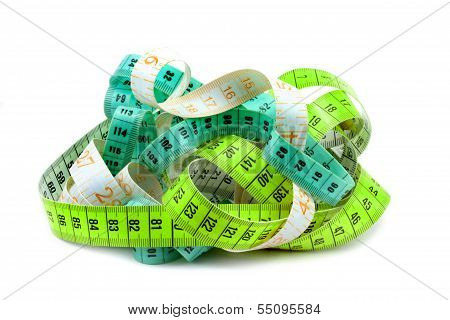 Various entangled measuring tape .