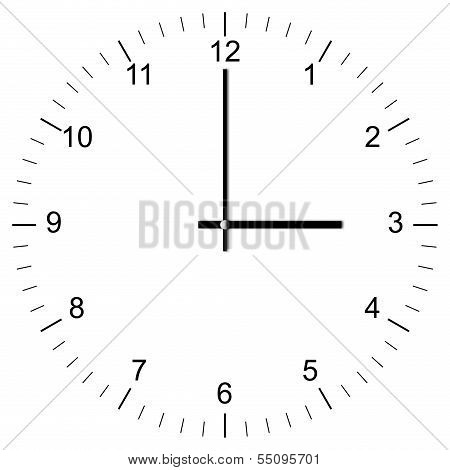 Clock Illustration 3:00