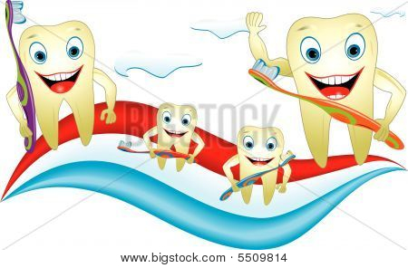 Teeth Family  With Toothbrush