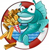 image of fresh water fish  - Great illustration of a Cute Cartoon Cod Fish eating a tasty Traditional British portion of chips - JPG