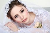 picture of evening gown  - Portrait of beautiful bride - JPG
