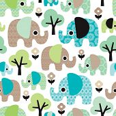 pic of holi  - Seamless retro flowers elephant kids illustration pattern wallpaper background in vector - JPG