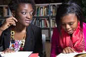 African American Students in a College Library