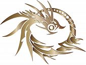stock photo of fireball  - Chinese Style Dragon Statue Vector line Sketch Up - JPG