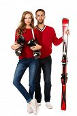 pic of ski boots  - Two young people stand with skiing and ski boots - JPG