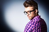 stock photo of spectacles  - Portrait of a modern young man in spectacles - JPG